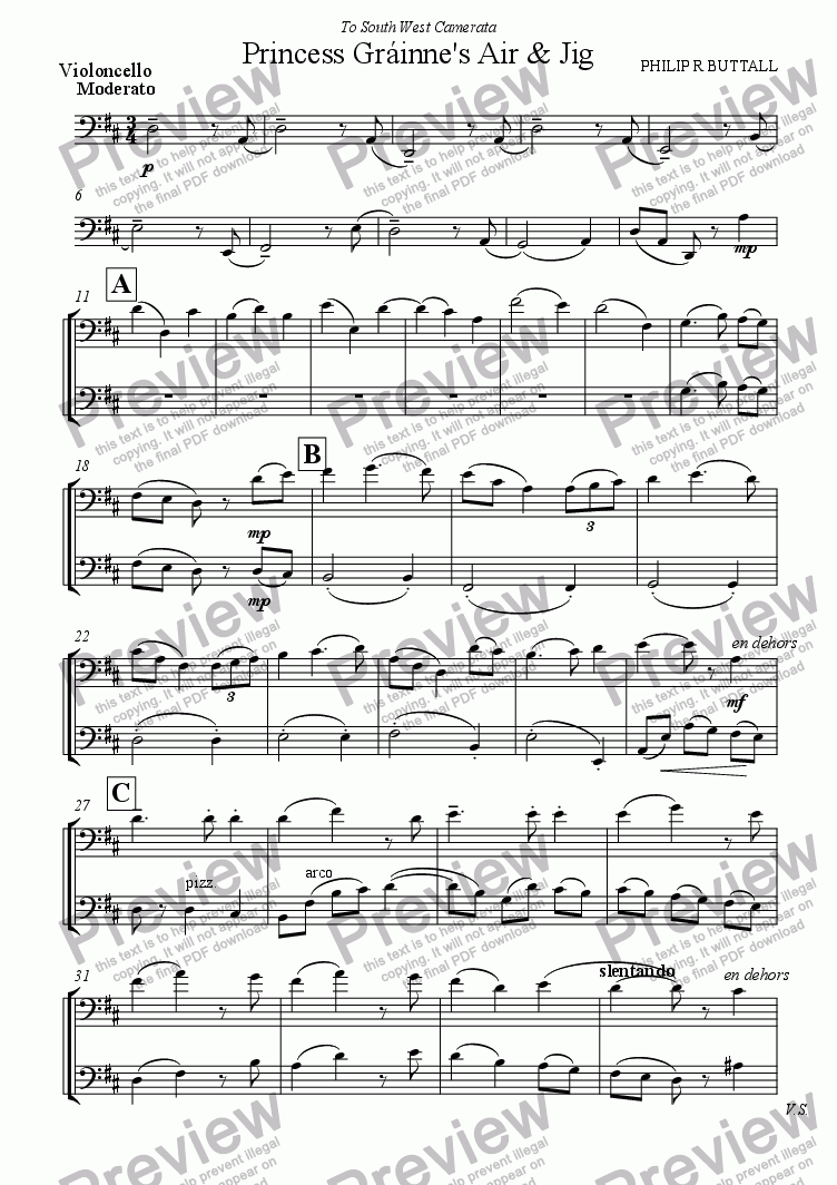 page one of the Violoncello part from Princess Grainne's Air & Jig (String Orchestra)