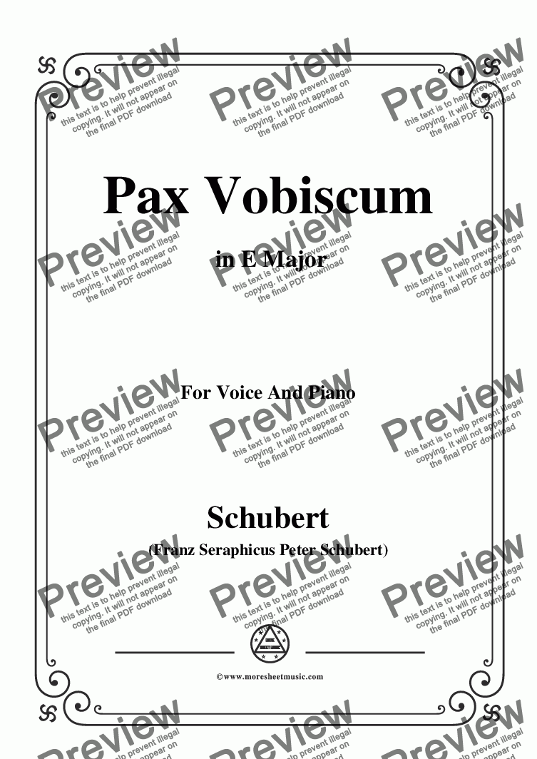 page one of the C05330W0114N06Schubert-Pax Vobiscum,in E Major,for Voice and Piano - Score and parts part from Schubert-Pax Vobiscum,in E Major,for Voice and Piano