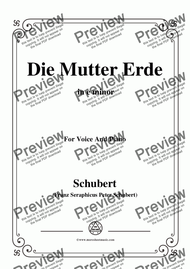 page one of the C05330W0126N09Schubert-Die Mutter Erde,in e minor,for Voice and Piano - Score and parts part from Schubert-Die Mutter Erde,in e minor,for Voice and Piano