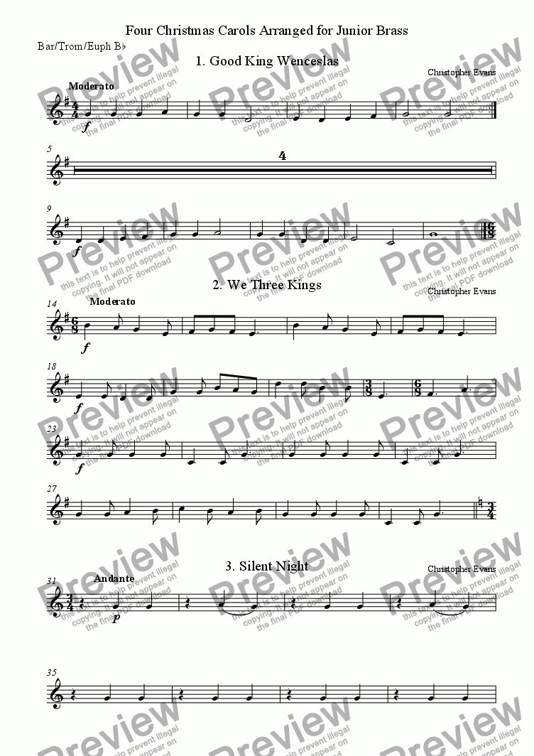 page one of the Baritone Horn, Trombone & Euphonium in Bb part from Christmas Carols for Junior Brass Ensemble
