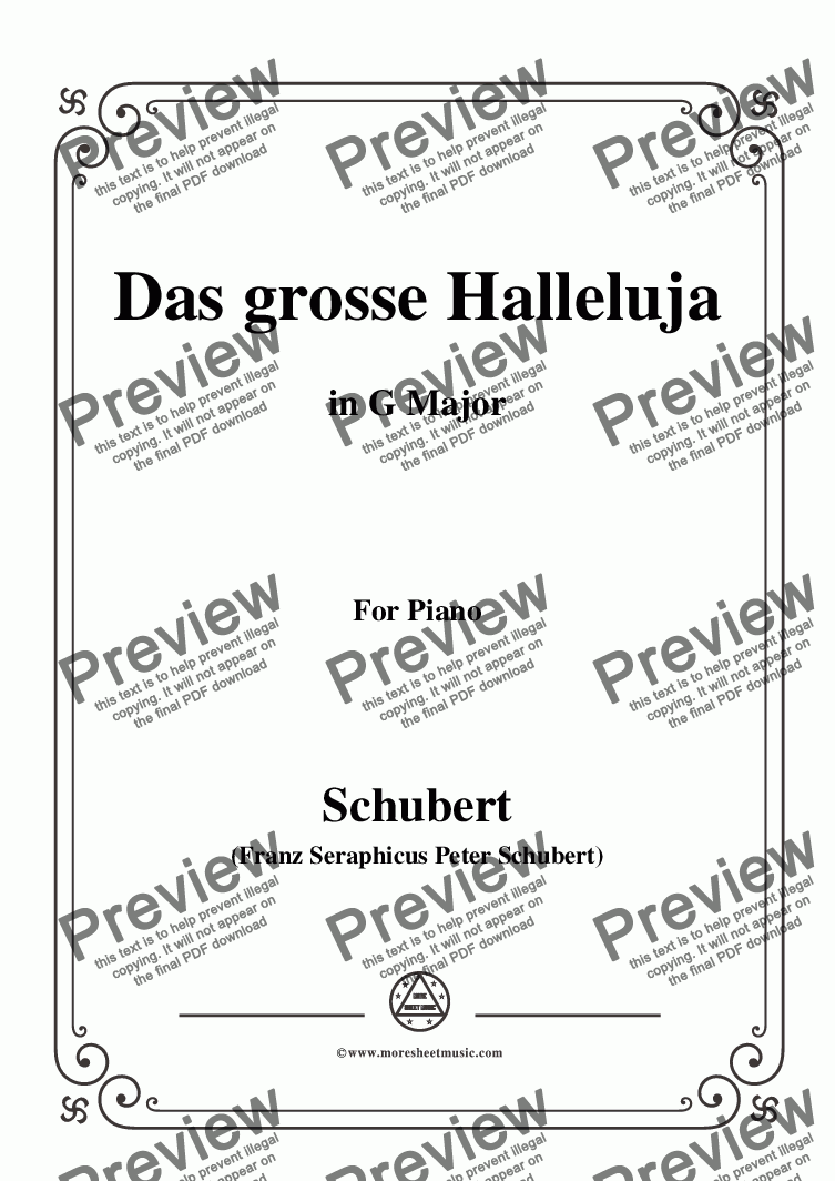 page one of the C05330W0166N04Schubert-Das Grosse Halleluja,in G Major,for Piano - Score and parts part from Schubert-Das Grosse Halleluja,in G Major,for Voice and Piano