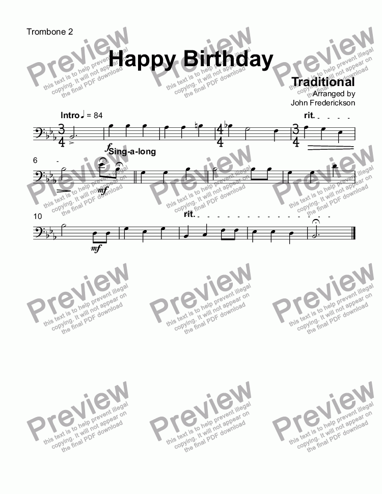 Trombone 2 part from Happy Birthday for Big band by Traditional - Sheet  Music PDF file to download