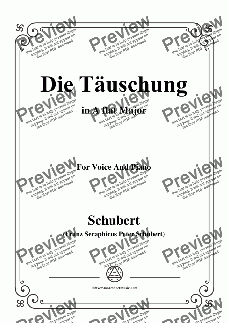 page one of the C05330W0172N05Schubert-Die Täuschung,in A flat Major,Op.165 No.4,for Voice and Piano - Score and parts part from Schubert-Die Täuschung,in A flat Major,Op.165 No.4,for Voice and Piano