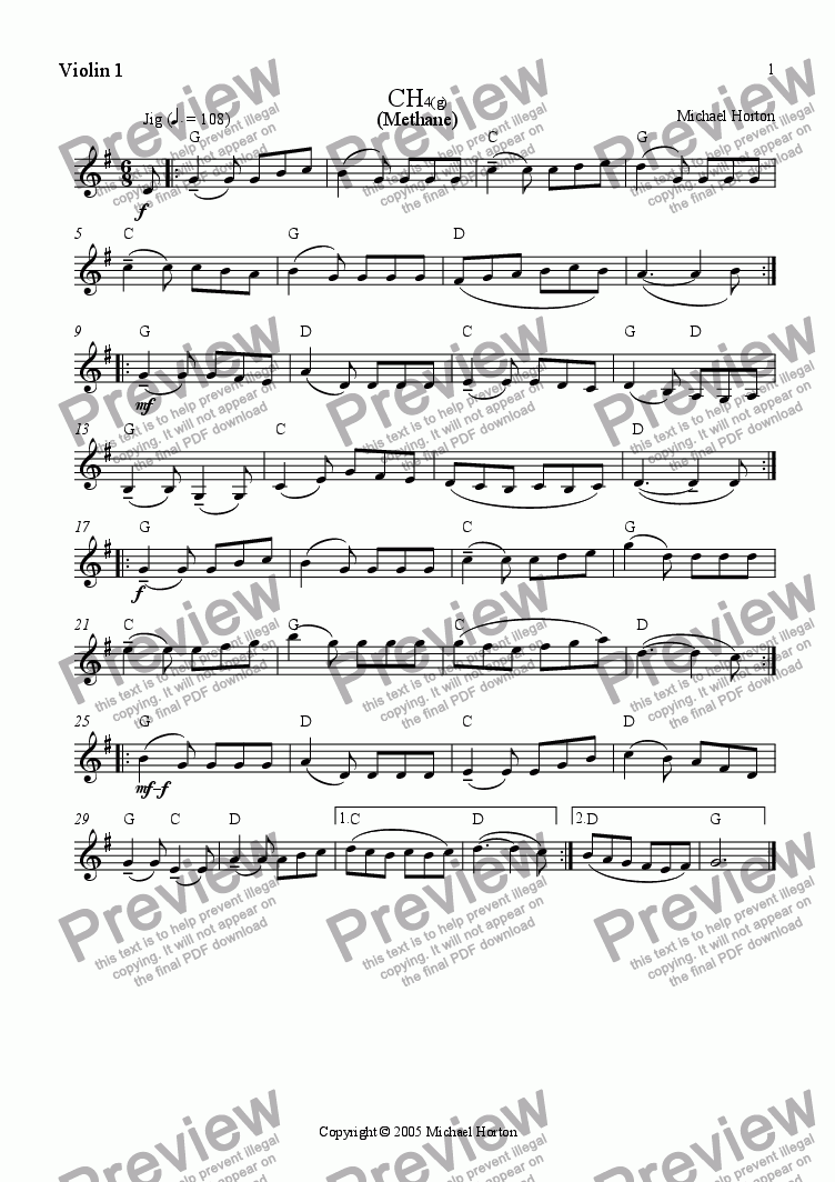 page one of the Violin 1 part from Methane (Jig)