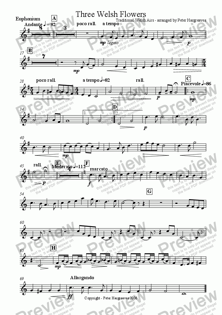 page one of the Euphonium part from Three Welsh Flowers