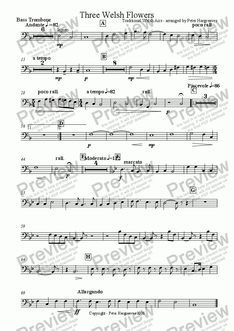 page one of the Bass trombone part from Three Welsh Flowers