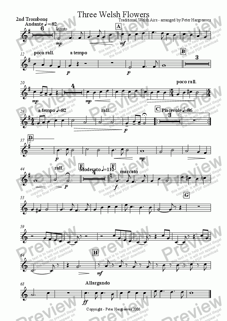 page one of the 2nd trombone part from Three Welsh Flowers