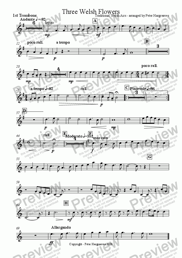 page one of the 1st trombone part from Three Welsh Flowers