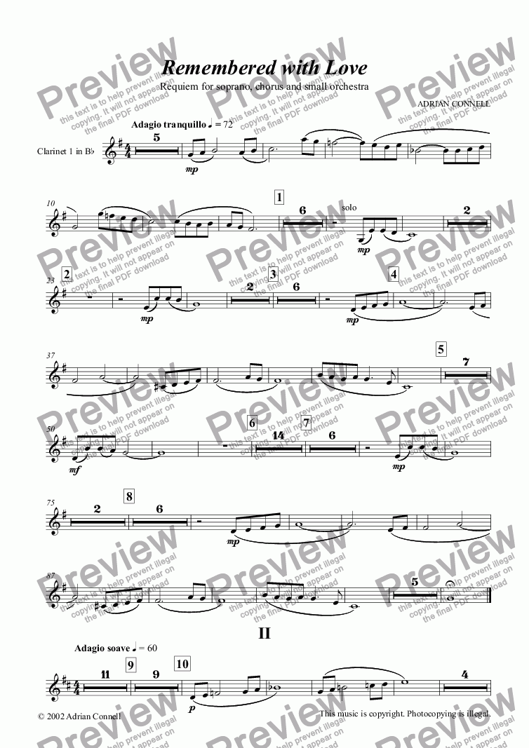 page one of the Clarinet 1 in Bb part from Remembered With Love (Requiem)