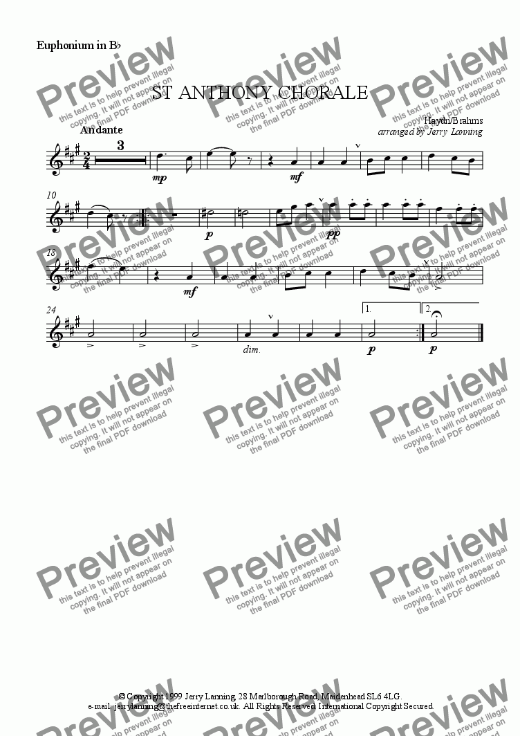 page one of the Euphonium in Bb (treble clef) part from St Anthony Chorale (brass quintet)