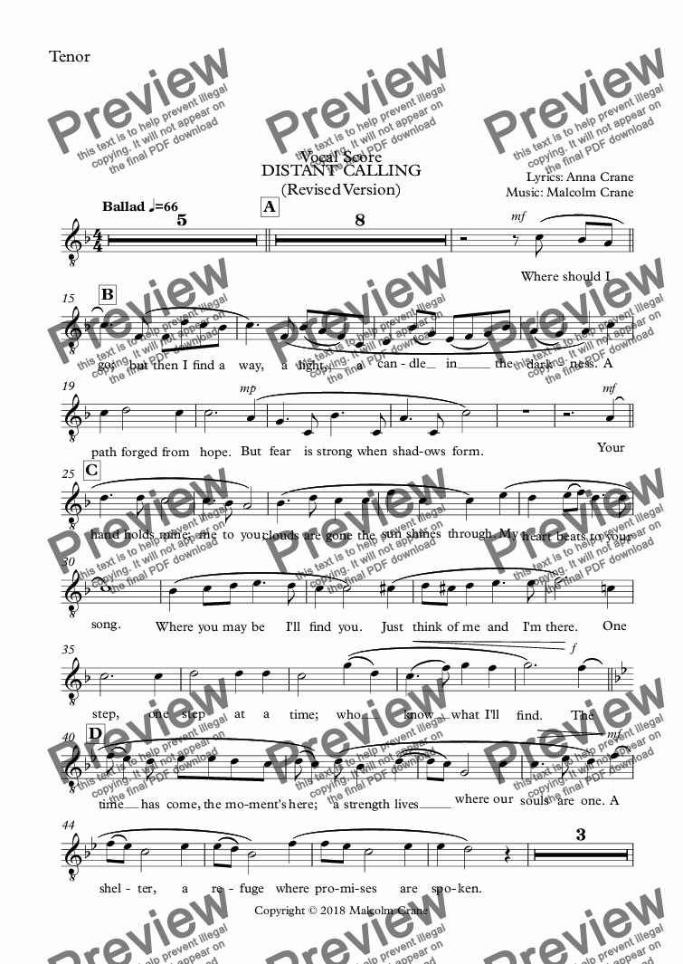 page one of the Tenor part from DISTANT CALLING