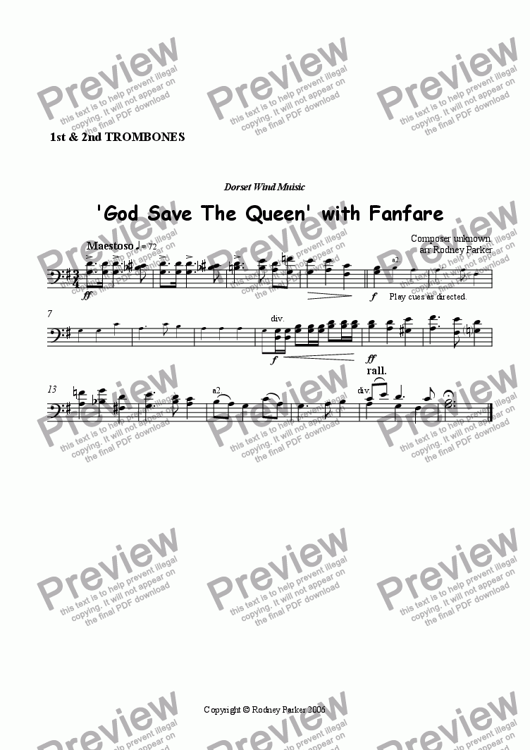 page one of the Trombones 1&2 part from  God Save The Queen with Fanfare
