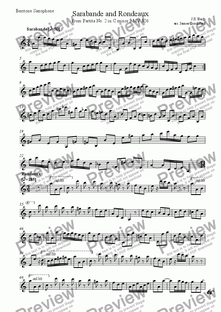 page one of the Baritone Saxophone part from Sarabande and Rondeaux for Saxophone Duet (SB or SA)