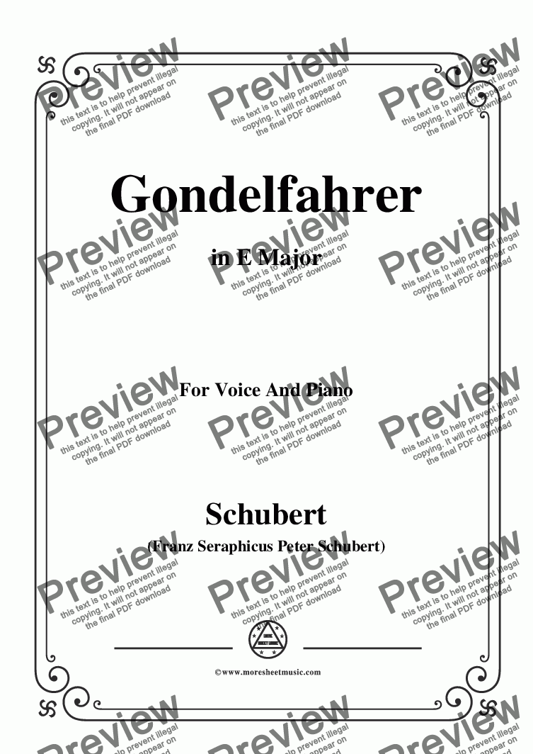 page one of the C05330W0203N05Schubert-Gondelfahrer,in E Major,for Voice&Piano - Score and parts part from Schubert-Gondelfahrer,in E Major,for Voice&Piano