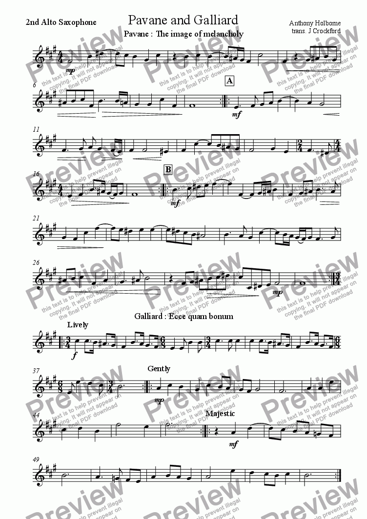 page one of the 2nd Alto Saxophone part from Pavane and Galliard for Saxophone Quintet