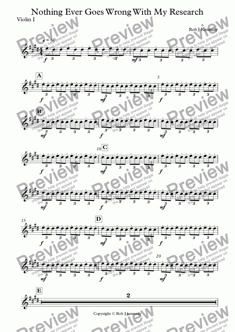 page one of the Violin I part from Nothing Ever Goes Wrong With My Research