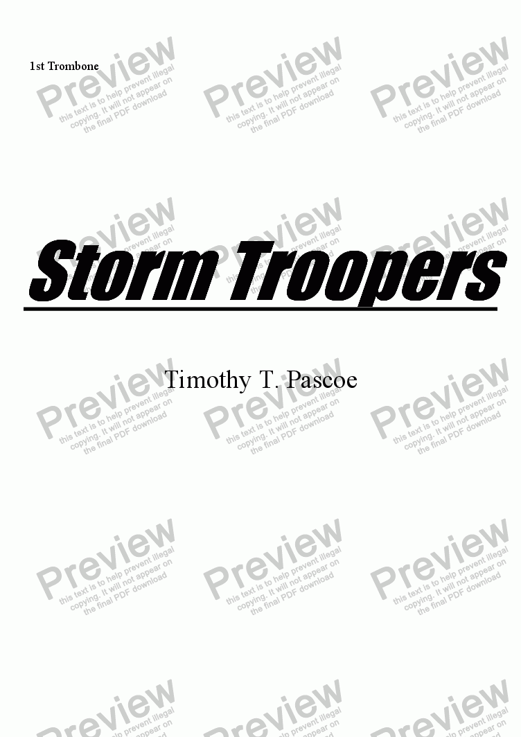 page one of the 1st Trombone part from Storm Troopers (Brass Band)