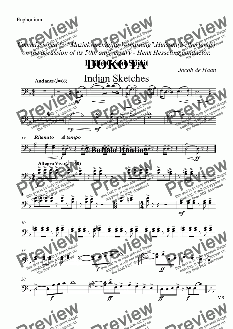 "page one of the Euphonium part from Commissioned by ""Muziekvereniging Volharding"",Huissen(Netherlands) on the occassion of its 50th anniversary - Henk Hesseling,conductor. DOKOTA Indian Sketches"