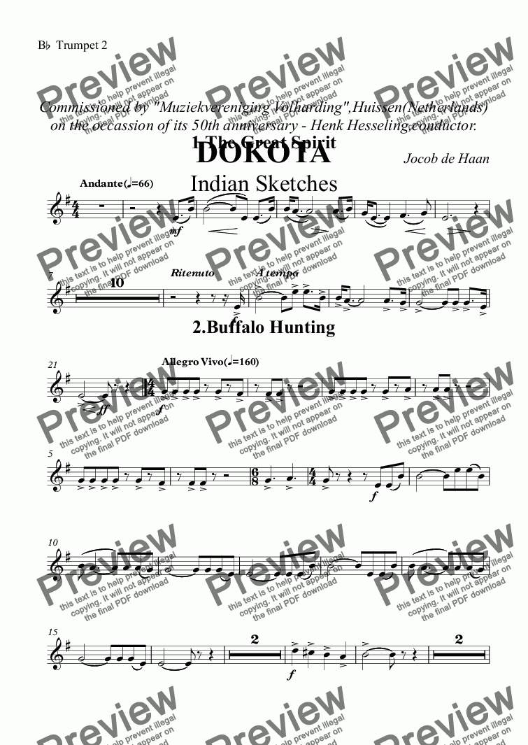 "page one of the B^b^ Trumpet 2 part from Commissioned by ""Muziekvereniging Volharding"",Huissen(Netherlands) on the occassion of its 50th anniversary - Henk Hesseling,conductor. DOKOTA Indian Sketches"