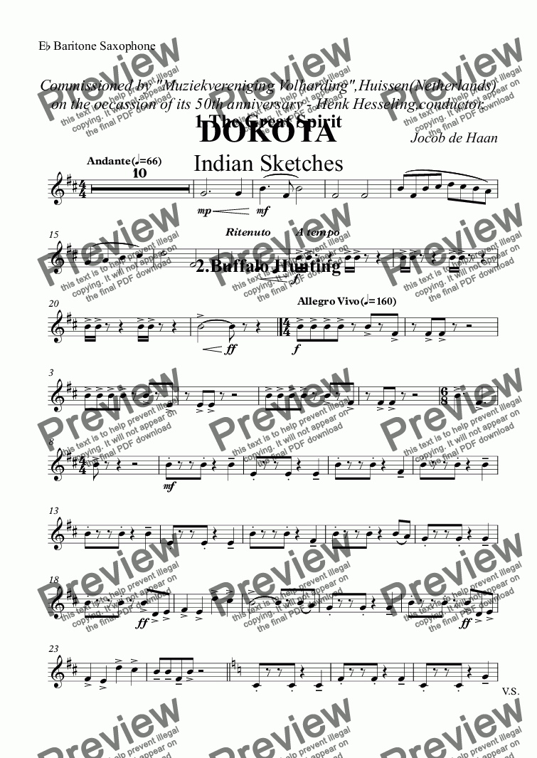 "page one of the E^b Baritone Saxophone part from Commissioned by ""Muziekvereniging Volharding"",Huissen(Netherlands) on the occassion of its 50th anniversary - Henk Hesseling,conductor. DOKOTA Indian Sketches"