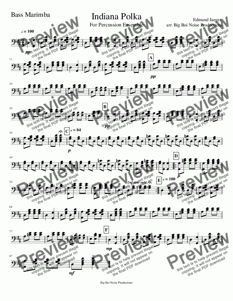 page one of the Marimba 2 part from Indiana Polka For Percussion