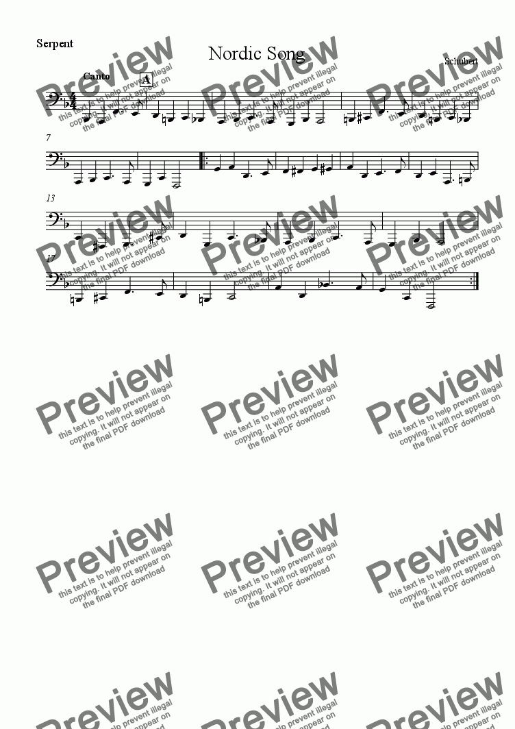 page one of the Serpent part from Nordic Song - Download sheet music