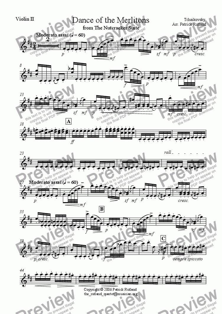 page one of the Violin 2 part from Dance of the Merlitons from The Nutcracker