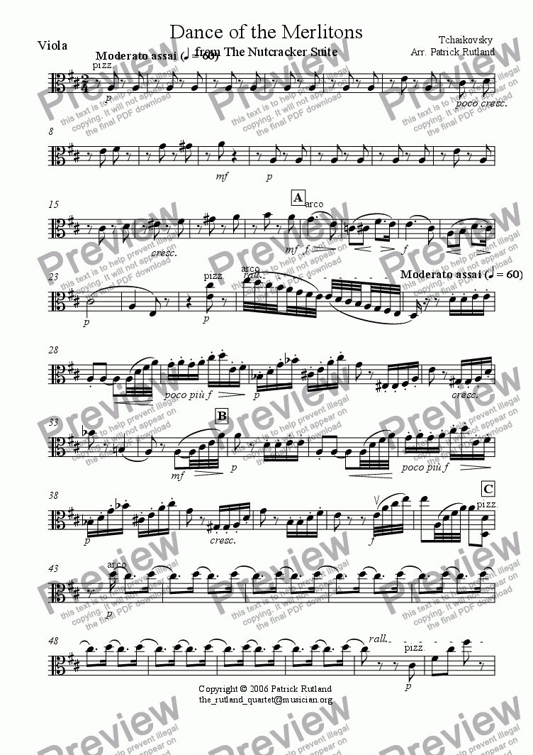 page one of the Viola part from Dance of the Merlitons from The Nutcracker