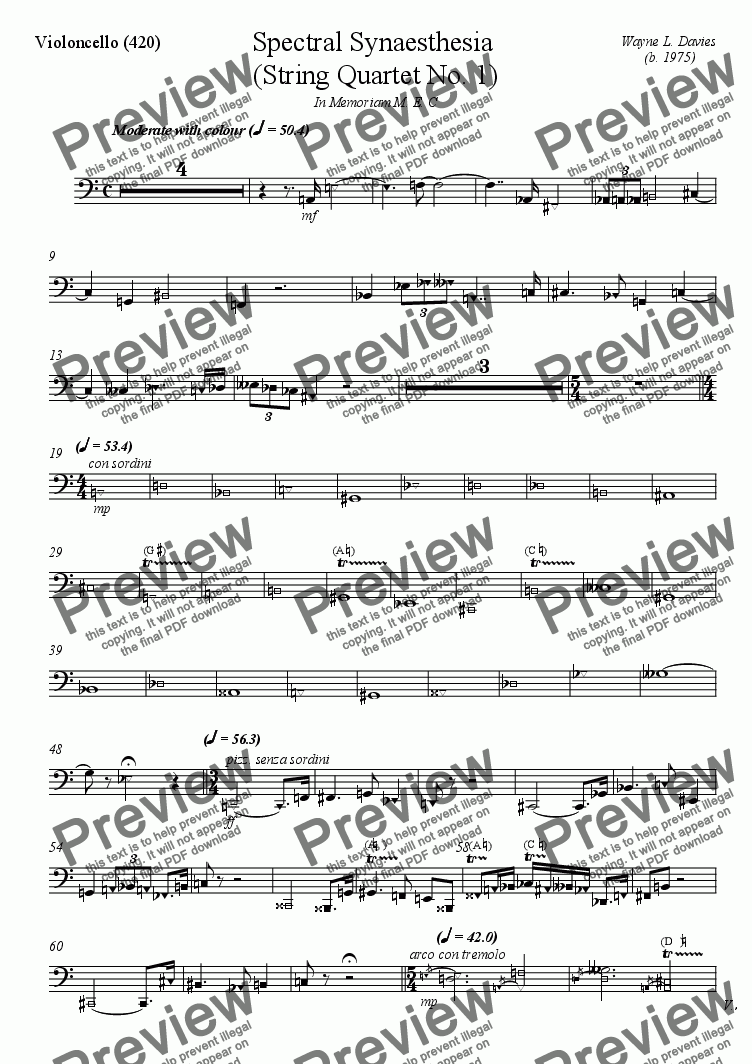 page one of the Violoncello part from String Quartet No 1: Spectral Synaesthesia