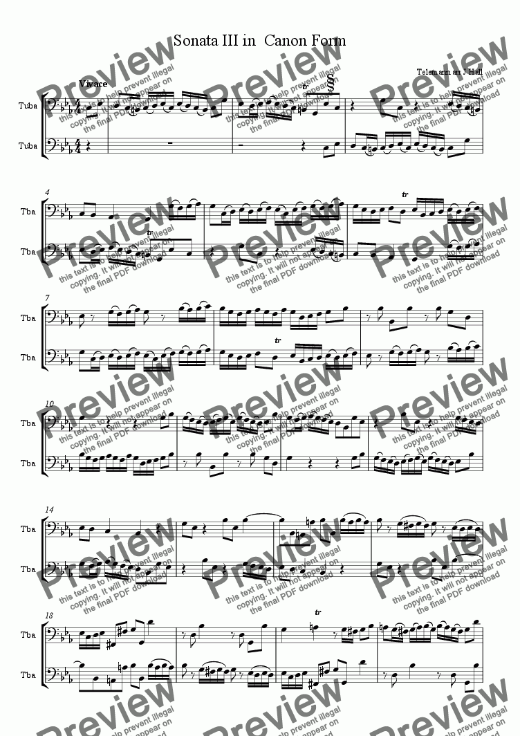 page one of the Score for EEb and F tubas (transposed) part from Canonic Sonata