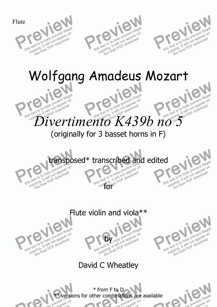 page one of the Flute part from Mozart - Divertimento K439b no 5  for flute violin and viola transcribed by David C Wheatley