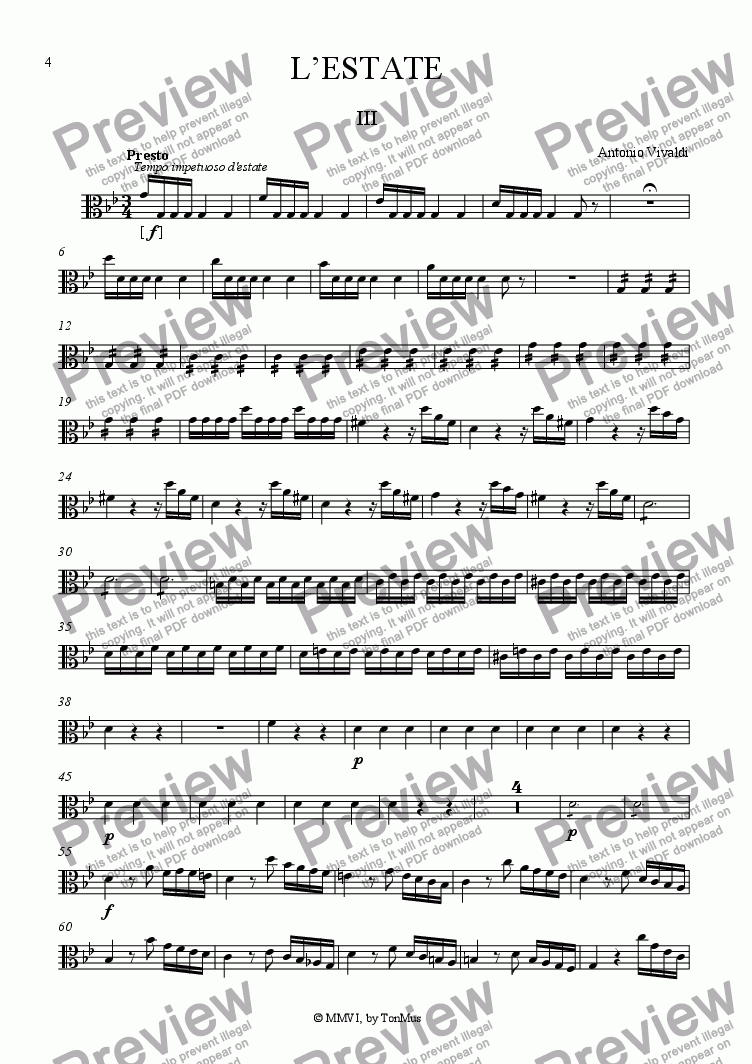 "page one of the Viola part from Vivaldi ""Summer"" 3rd Movement"