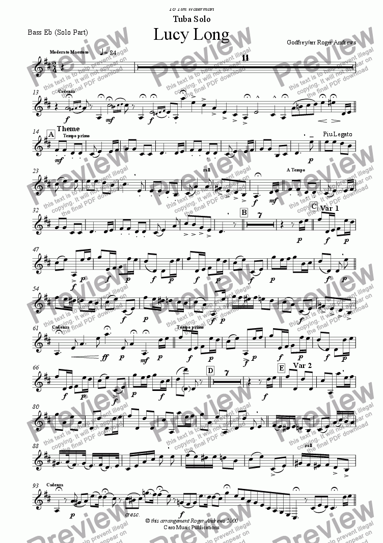 page one of the EEb Bass(Solo Part) part from Lucy Long(Solo for Tuba and Brass Band)