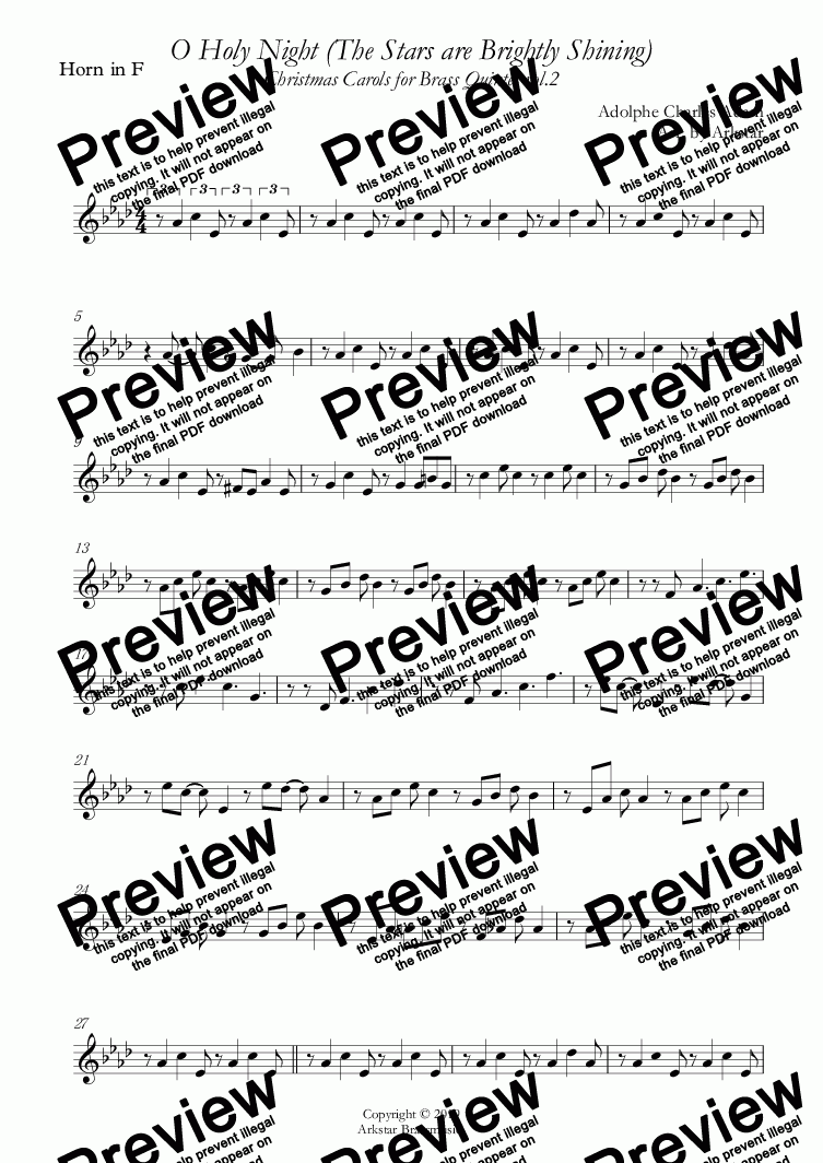 page one of the Horn in F part from Christmas Carols for Brass Quintet  Vol.2  (5 Christmas Carols) by Arkstar Brassmusic