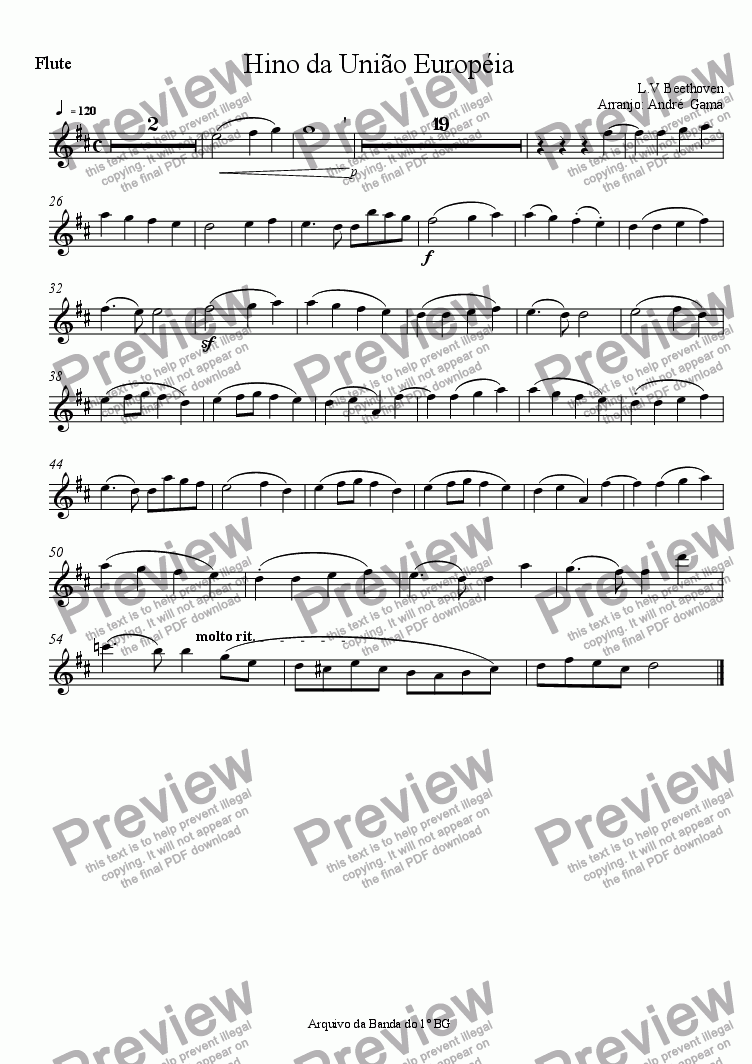 page one of the flute part from United European Anthem