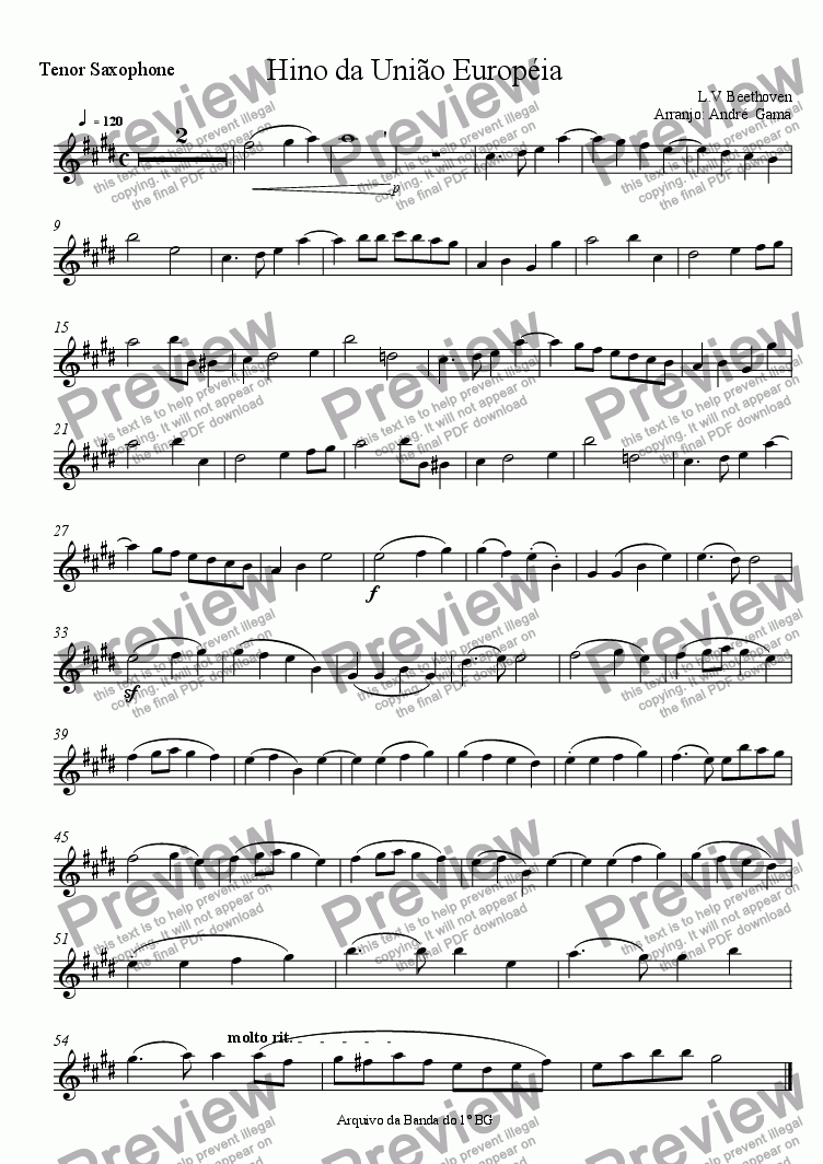 page one of the Tenor Sax part from United European Anthem