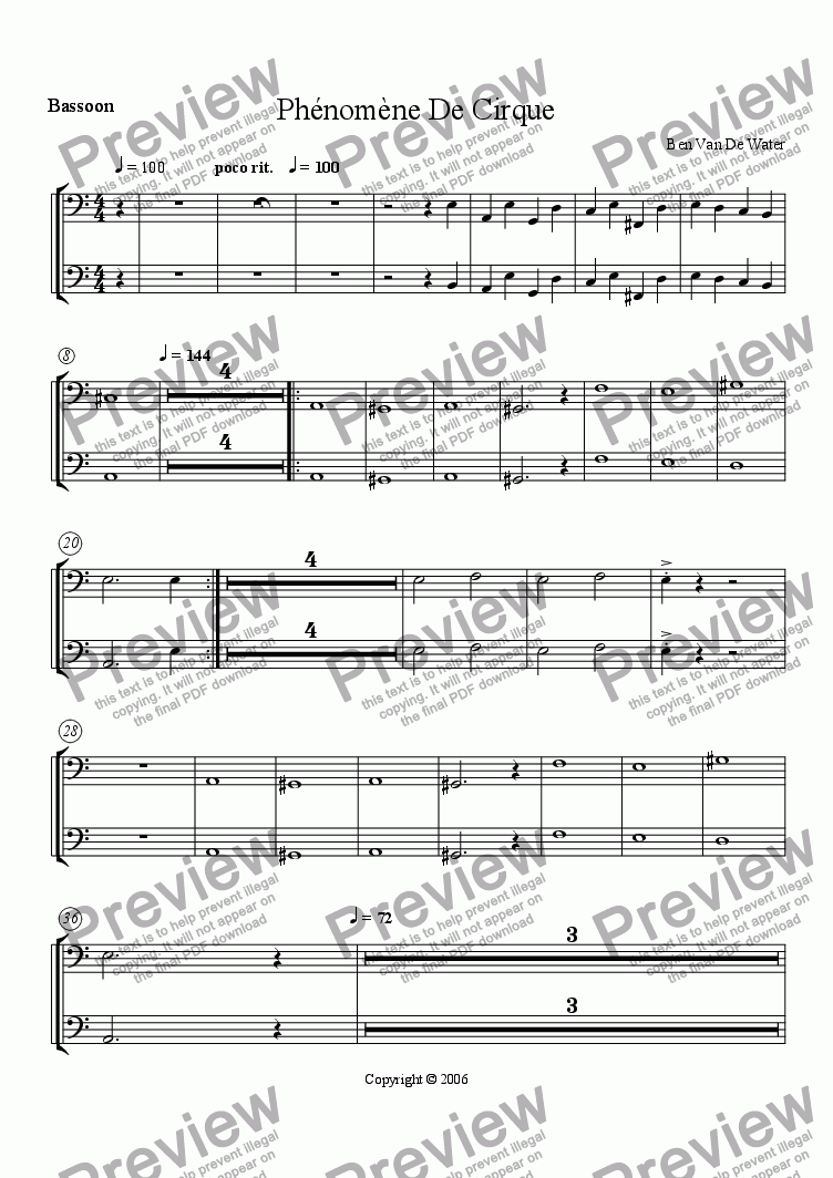 page one of the Bassoon part from Ph�nom�ne De Cirque