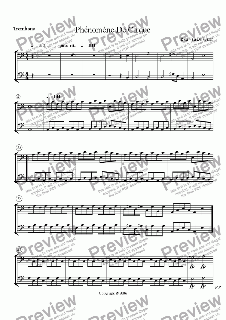 page one of the Trombone part from Ph�nom�ne De Cirque