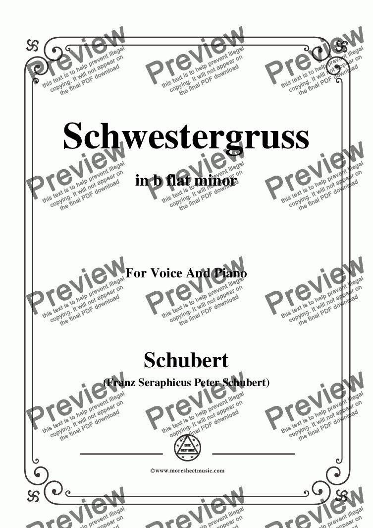 page one of the C05330W0312N05Schubert-Schwestergruss,in b flat minor,for Voice&Piano - Score and parts part from Schubert-Schwestergruss,in b flat minor,for Voice&Piano