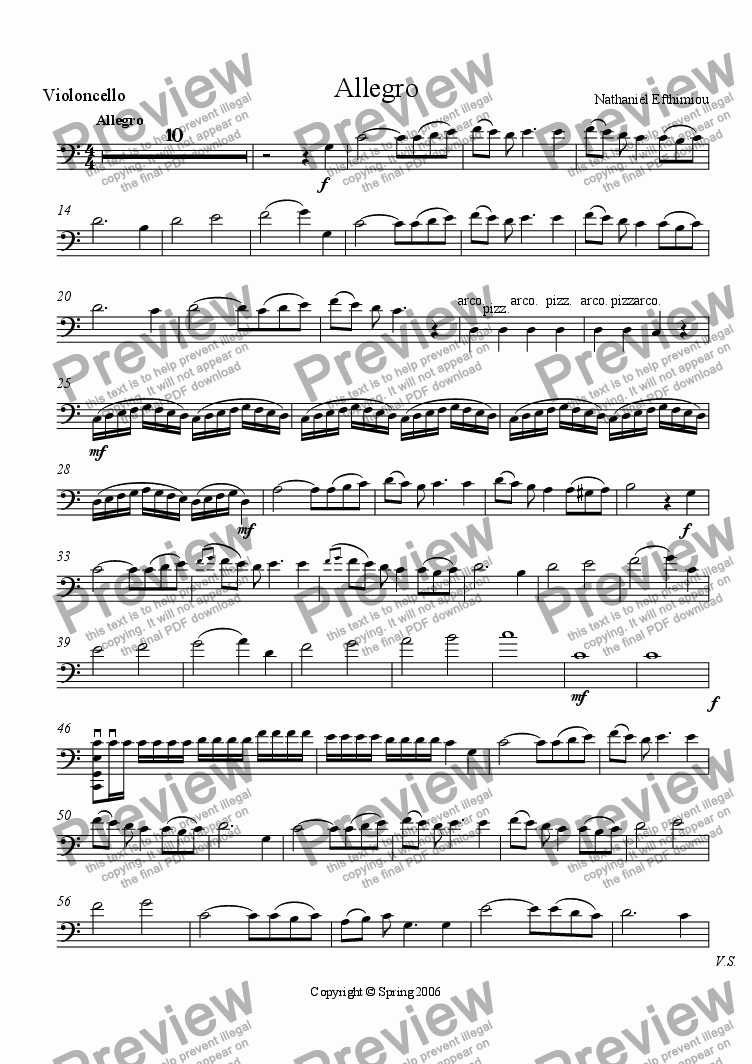 page one of the Violincello part from Allegro