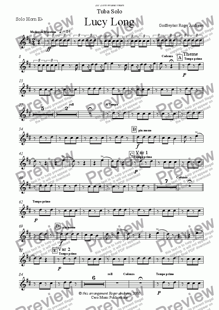 page one of the Solo Horn Eb part from Lucy Long(Solo for Tuba and Brass Band)