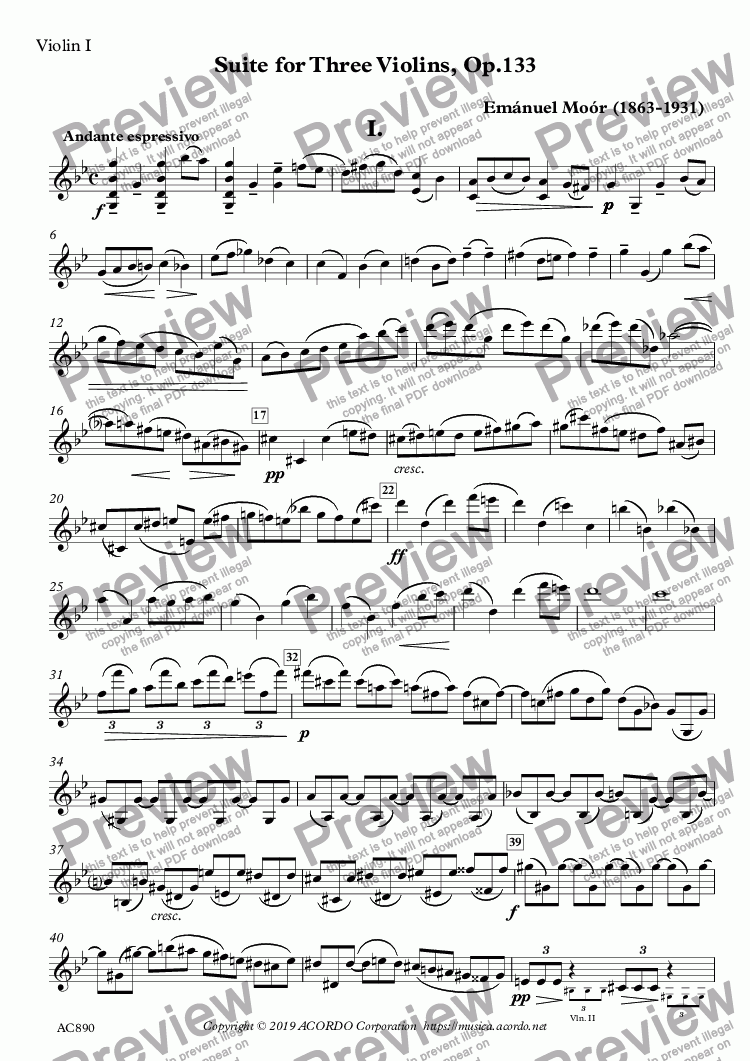 page one of the Violin I part from Suite for Three Violins, Op.133