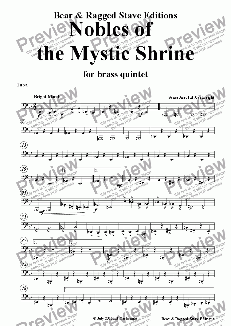page one of the Tuba part from March - Nobles of the Mystic shrine for brass quintet