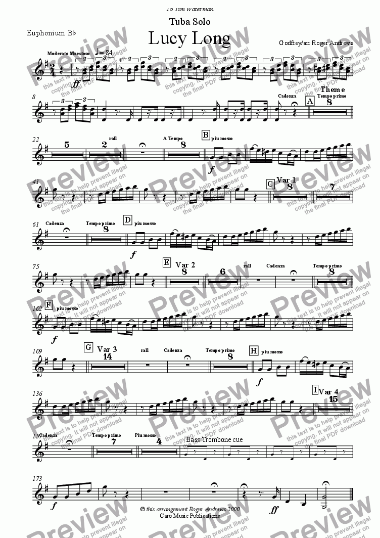 page one of the Euphonium part from Lucy Long(Solo for Tuba and Brass Band)