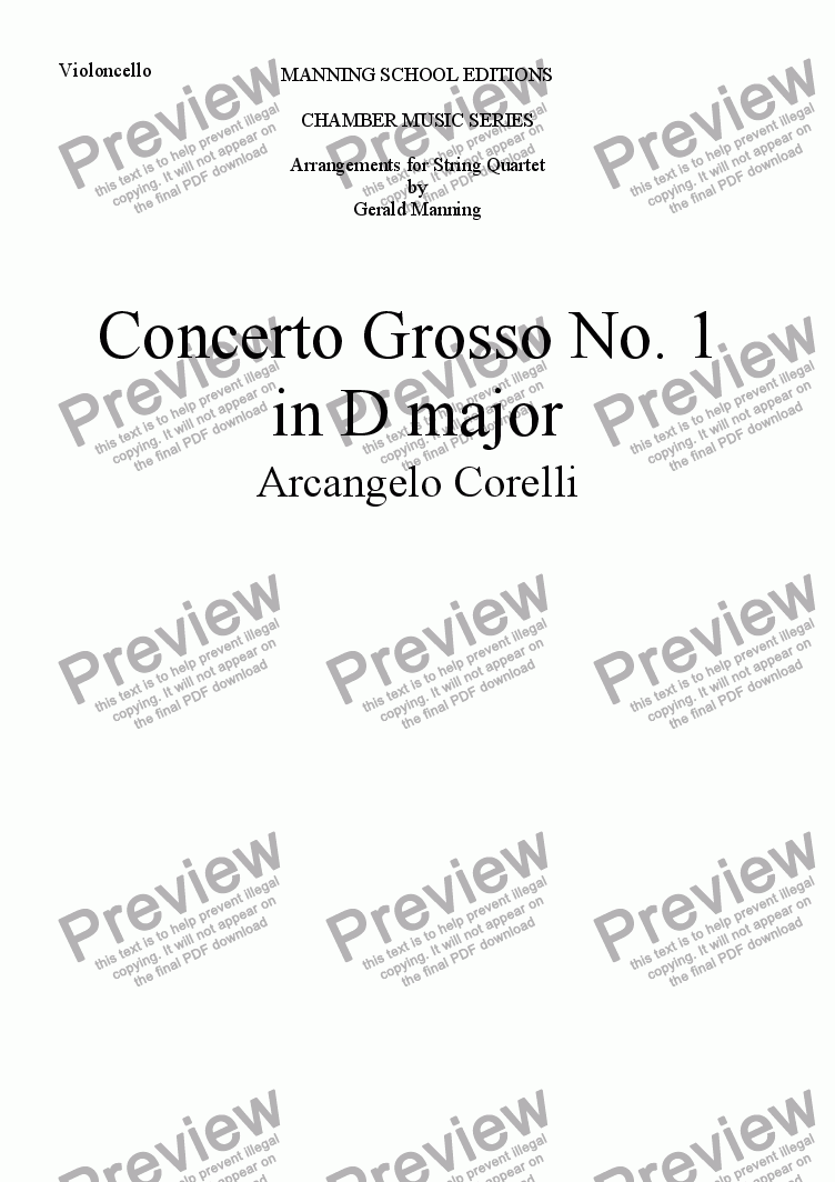 page one of the Violoncello part from CORELLI, A. - Concerto Grosso No. 1 in D major - arr. for String Quartet by Gerald Manning