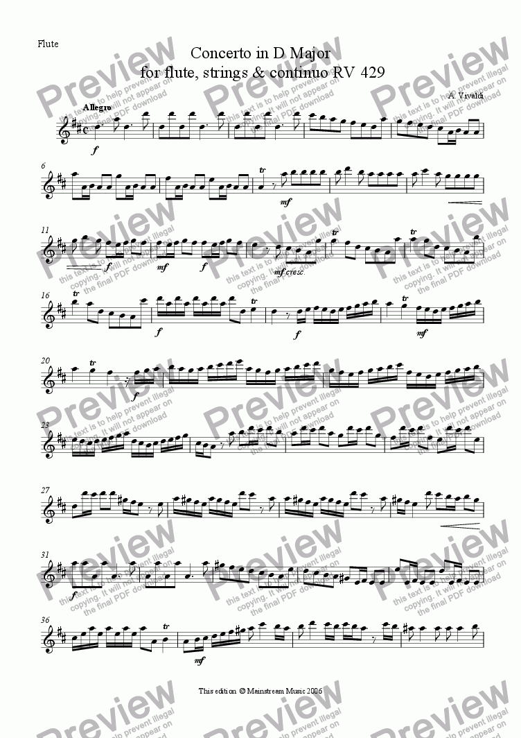 page one of the Flute part from Concerto in D Major for flute, strings & continuo RV 429