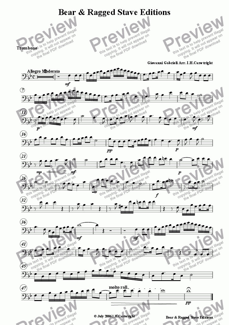 page one of the Trombone part from Canzona La Spiritata No. 4 for brass quintet
