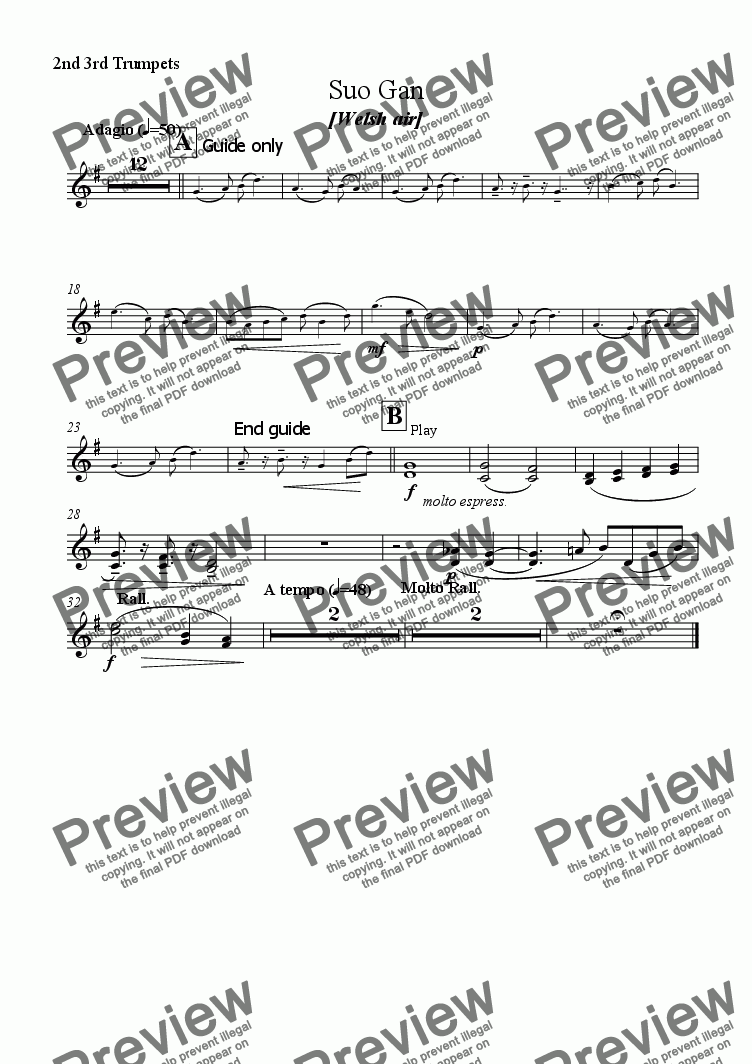 page one of the 2nd 3rd Trumpets part from Suo Gan [Welsh Air] (Orch)