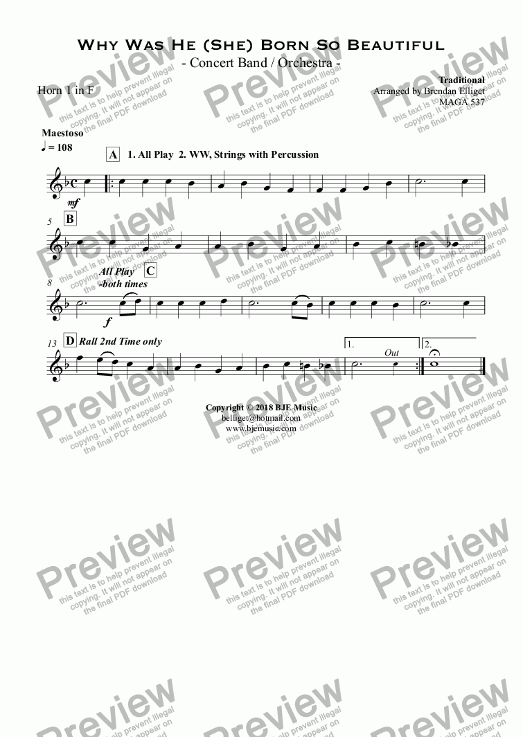 page one of the Horn 1 in F part from Why Was He (She) Born So Beautiful - Concert Band / Orchestra