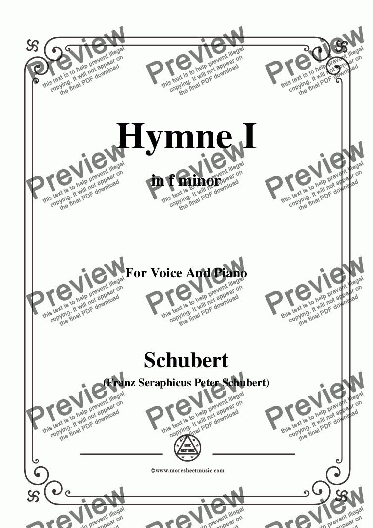 page one of the Schubert-Hymne(Hymn I),D.659,in f minor,for Voice&Piano part from Schubert-Hymne(Hymn I),D.659,in f minor,for Voice&Piano